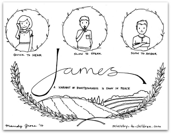James Bible Book Coloring Page Book Of James Books Of The Bible Bible Lessons For Kids