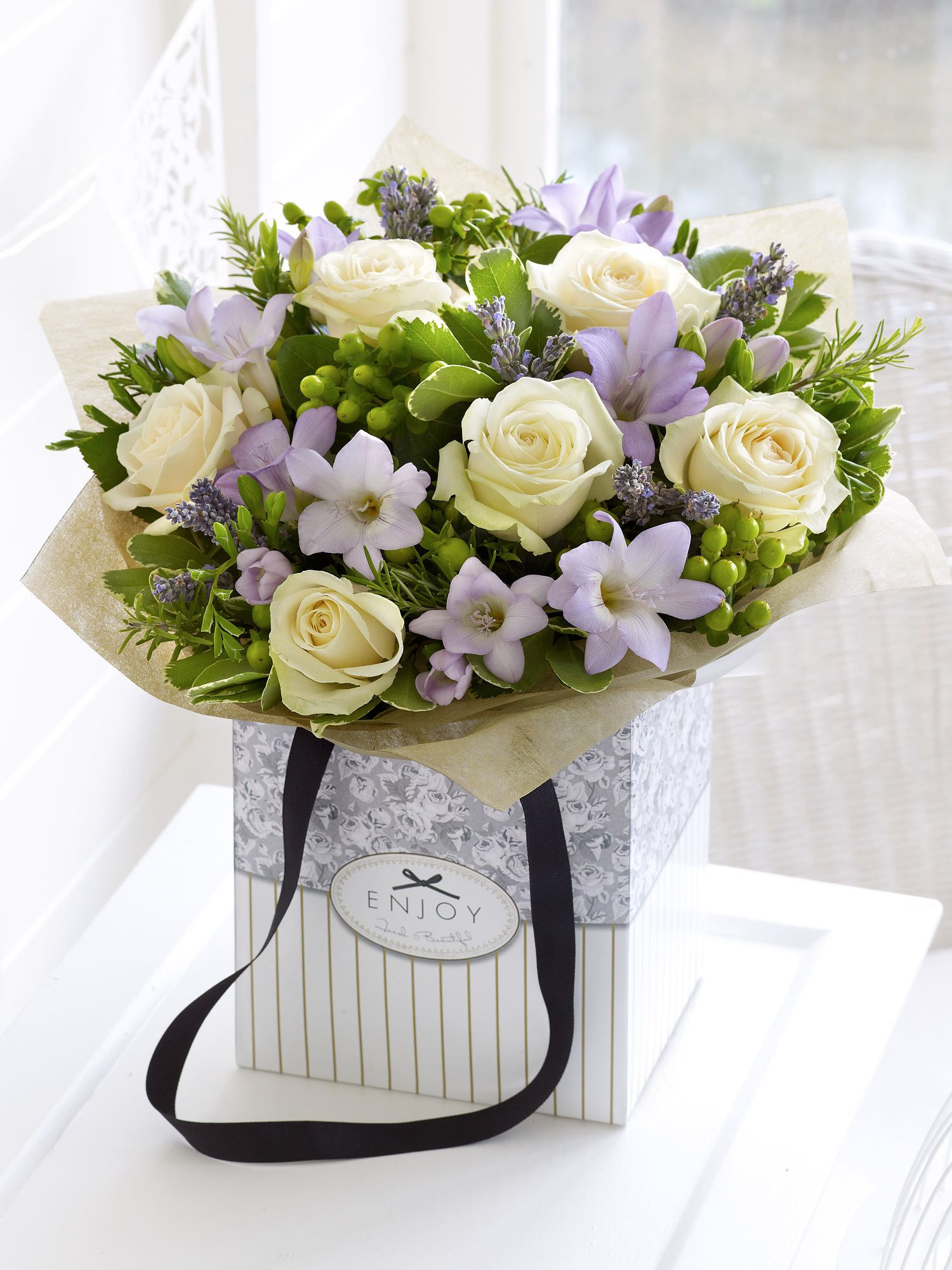Rose And Lilac Freesia Gift Bag With Chocolates Interflora Flowers Delivered Photo Bouquet Flower Arrangements