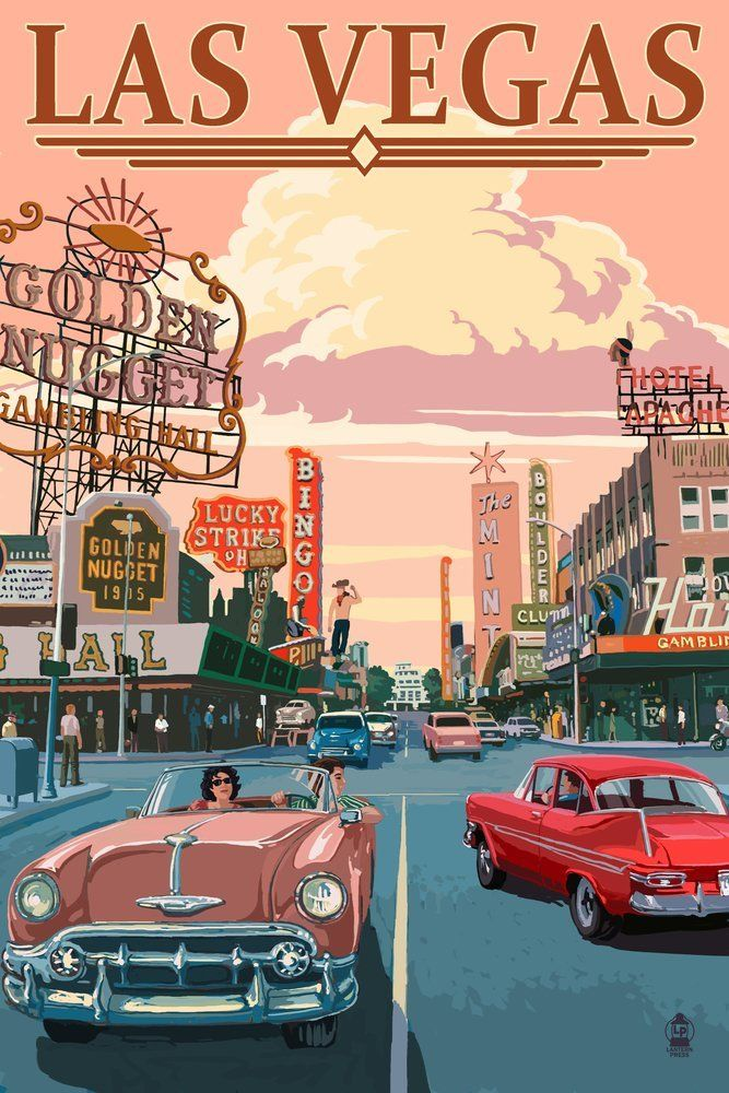 Las Vegas Old Strip Scene 24x36 Giclee Gallery Print Wall Decor Travel Poster Learn More By Visiting Retro Poster Retro Travel Poster Vintage Poster Art