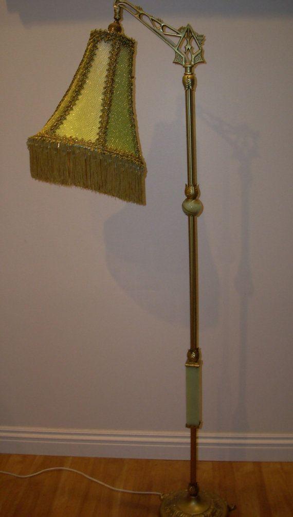 Antique Green Onyx Floor Lamp W Custom Designed Shade Lamp