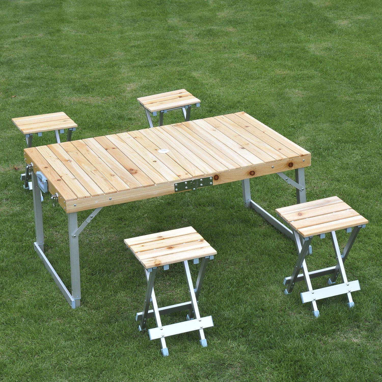 Outsunny Portable Pliable Camping Picnic Table et chaises tabourets Set Fête BBQ
