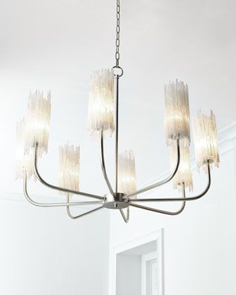 John richard collection natural selenite shaded 8 light chandelier