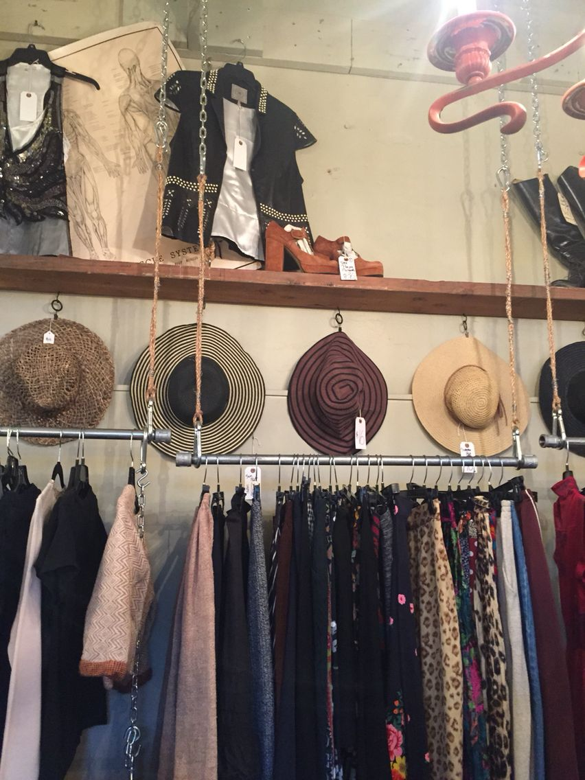 DIY closet racks. Hang your clothes from the ceilings with rope, chain, and