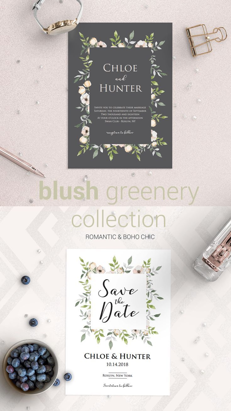 Floral Save The Date Printable Greenery Save The Date Wedding