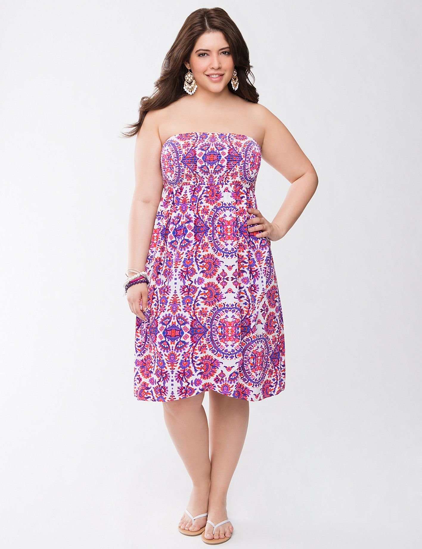 Batik smocked tube dress by Lane Bryant | Lane Bryant | Like | Pinterest