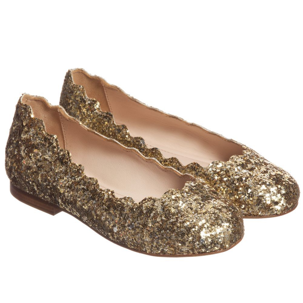 fecc8ffa8 Chloé Girls Gold Glitter Leather Shoes at Childrensalon.com