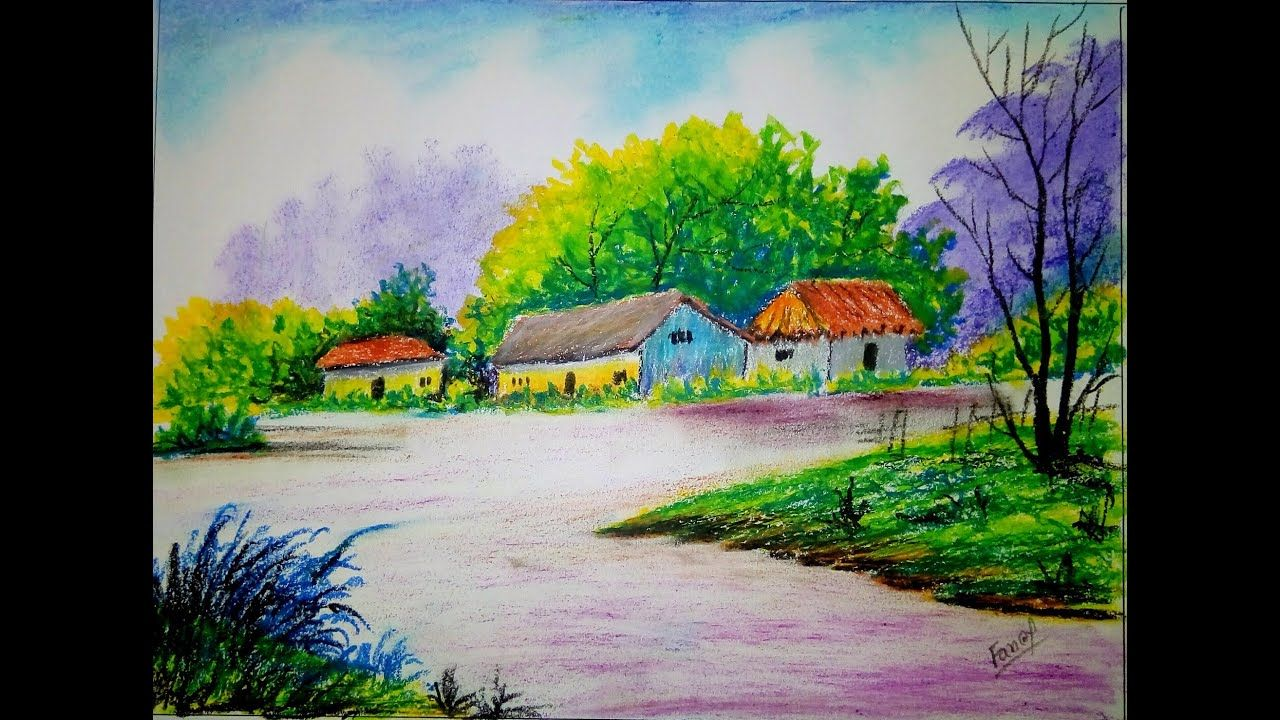 A Beautiful Oil Pastel Scenery Drawing For Beginner School Project Dra Landscape Drawings Easy Landscape Paintings Scenery Drawing For Kids