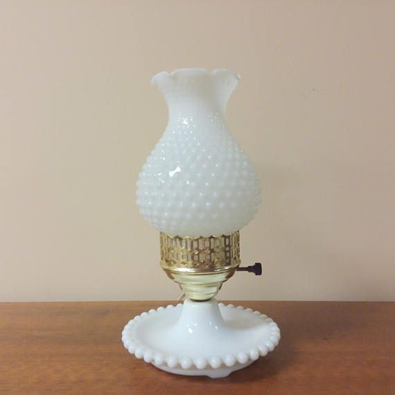 White milk glass hurricane table lamp hobnail dish base 3 way dim white milk glass hurricane table lamp hobnail dish base 3 way dim switch milk glass glass and bulbs aloadofball Images