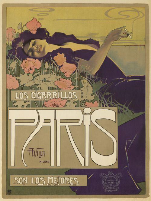 Cigarrillos Paris. 1901. Aleardo Villa.