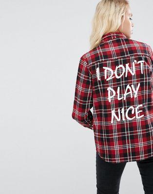 ASOS - Chemise à carreaux avec slogan