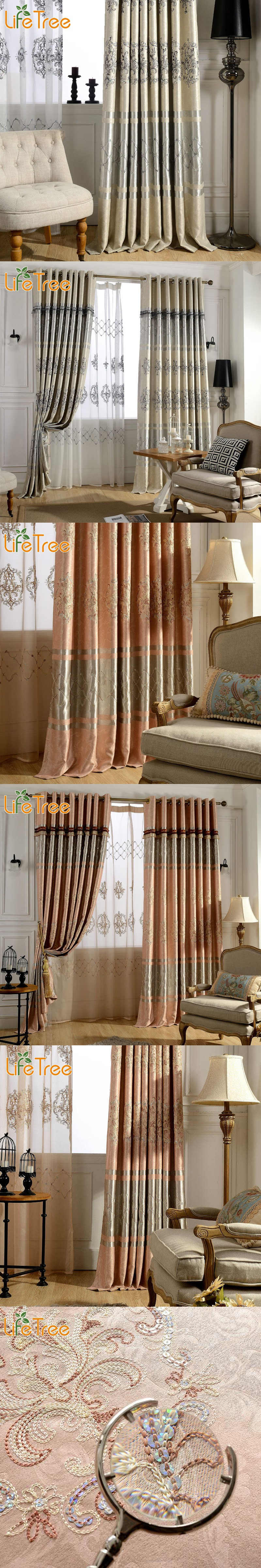 European window coverings  luxury embroidered blackout curtains for living room european tulle