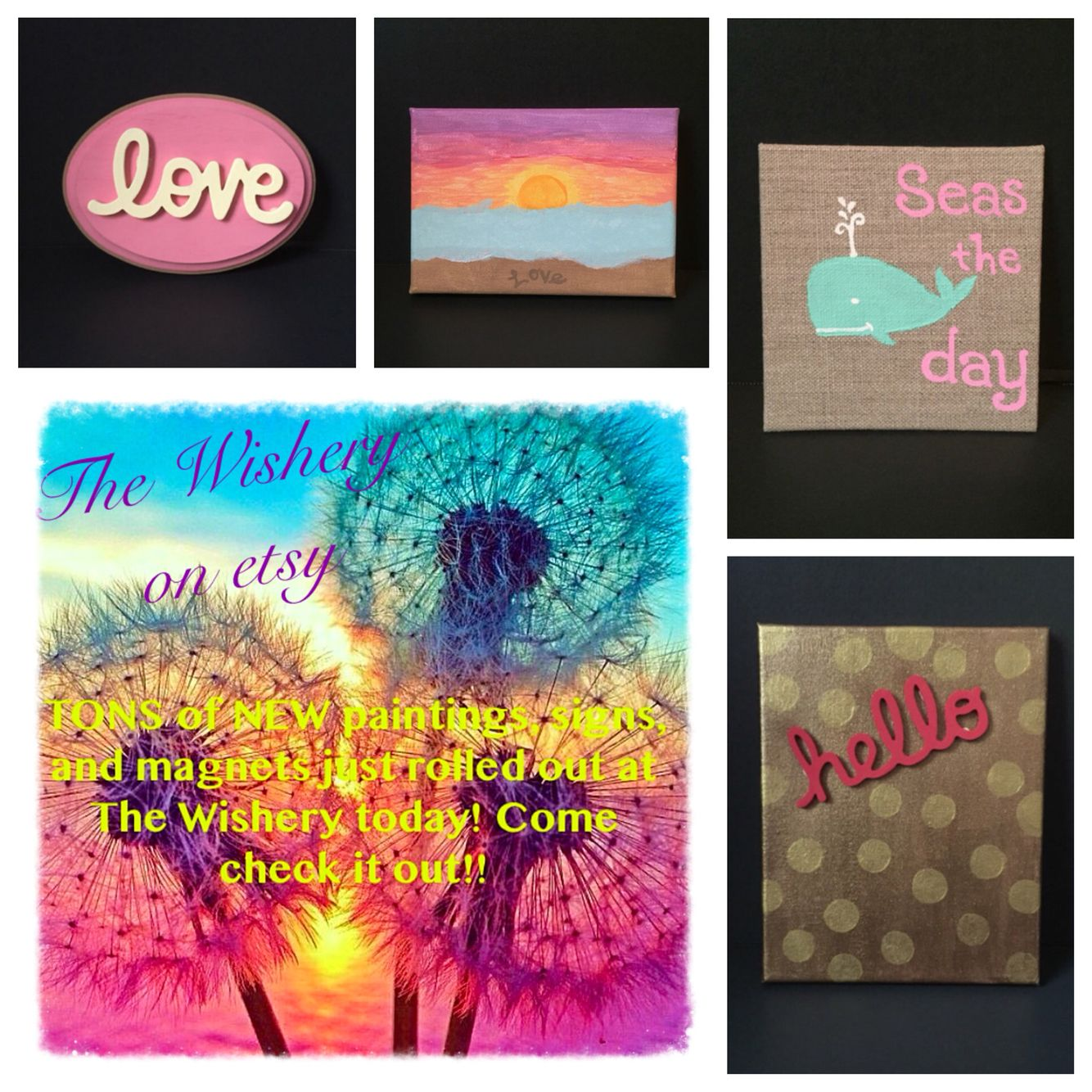 Www Etsy Com Shop Thewishery Come Check Out All Of The New Paintings Signs And Magnets At The Wishery Tons Of New Items Ets Painting Love Art Crafts