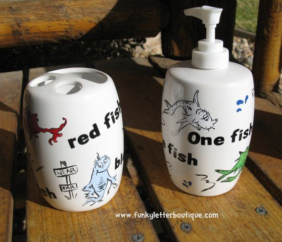 Dr Seuss One Fish Two Fish Red Fish Blue Fish Bathroom Soap Pump