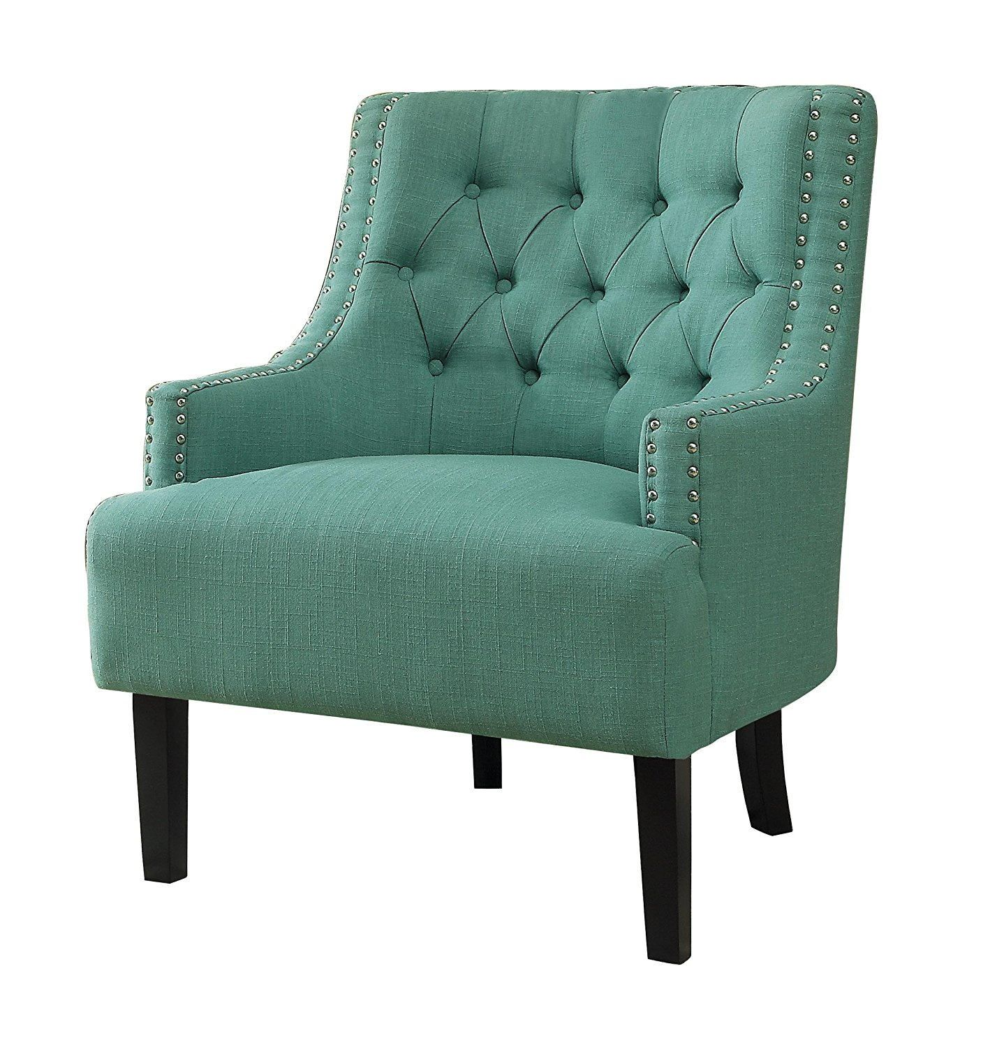 Homelegance 1194tl charisma teal fabric tufted back accent