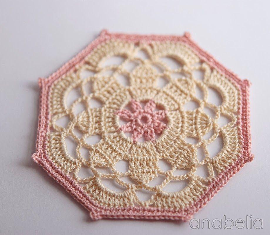 Crochet coaster beige pink model by Anabelia