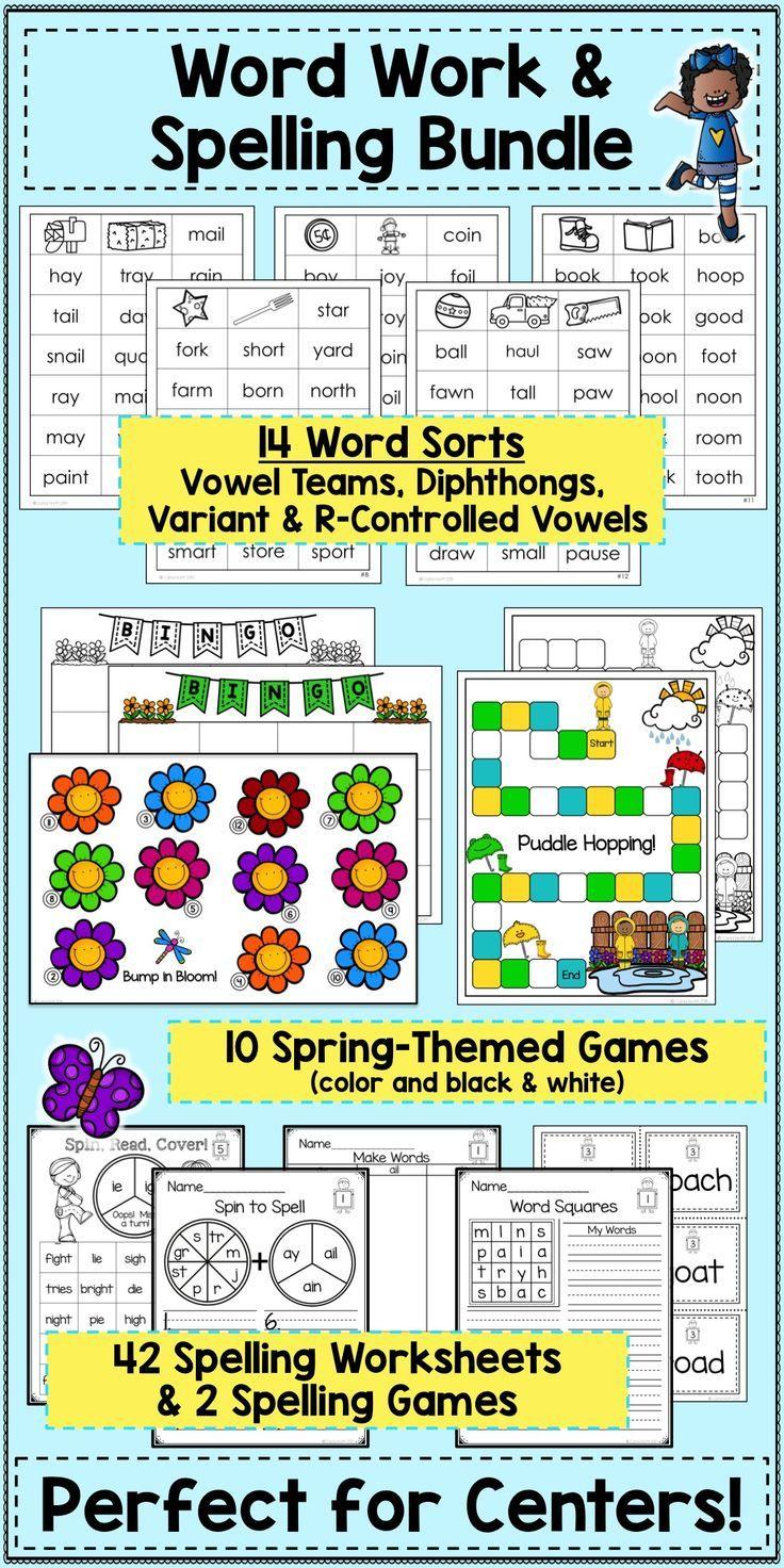 worksheet Vowel Team Worksheets spring word work spelling bundle vowel teams variant vowels give your students practice reading and words with r