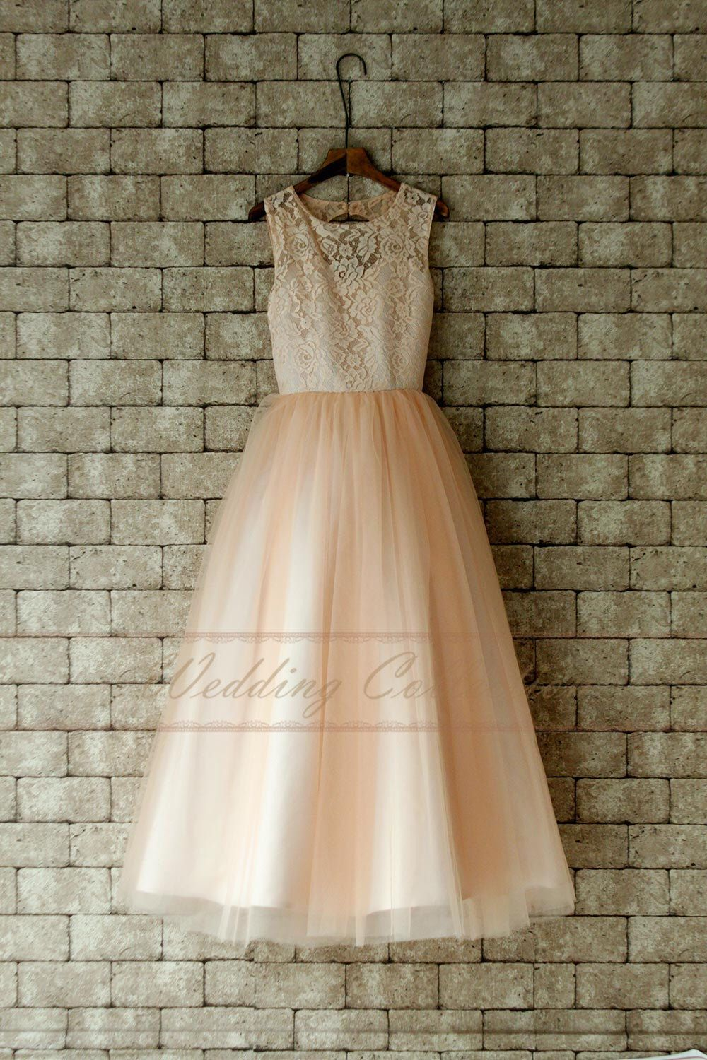 Blush junior bridesmaid dress lace flower girl dress floor length by
