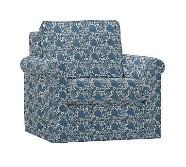 Cameron Roll Arm Upholstered Swivel Armchair, Polyester Wrapped Cushions, Batik Print Indigo