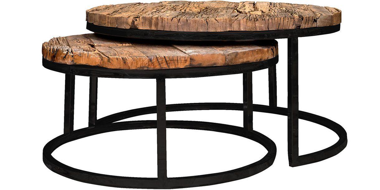 Luxe kensington reclaimed wood industrial nest of tables