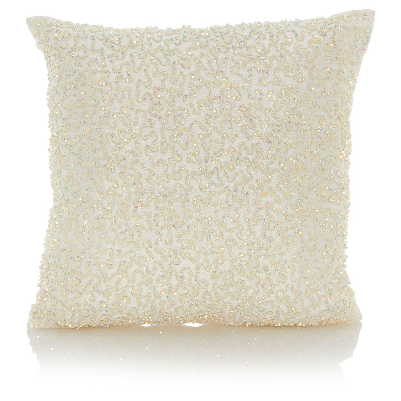 Home Cream Sparkle Sequin Cushion Cushions ASDA