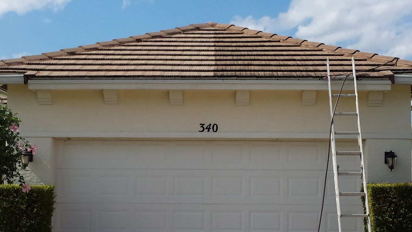 Pin By Bills Pressure Cleaning On Bills Pressure Cleaning Plus Barrel Flat Tile Roof Cleaning 772 708 3969 Garage Doors Tiles Cleaning