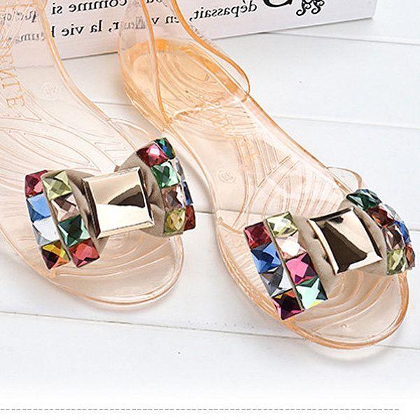 Perles De Cristal Butterflykont Glissement Transparent Peep Toe Sur Des Sandales De Plage Plat ZJHbKUEs