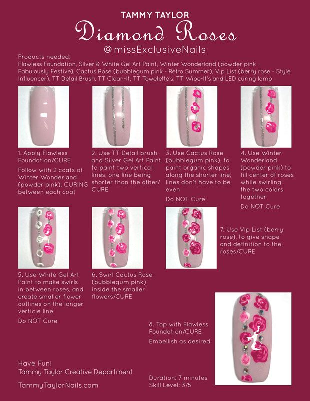 Tammy Taylor Diamond Rose Nail Design, Step by Step ...