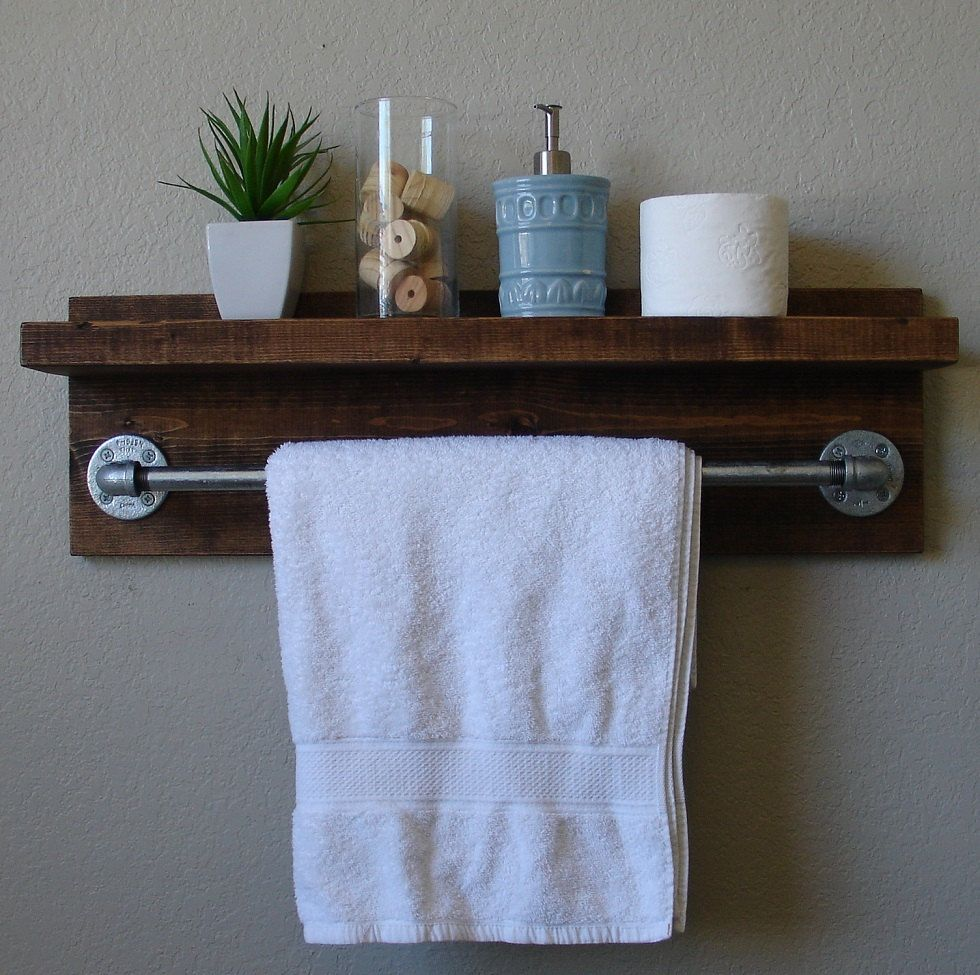 Modern Rustic Bathroom Shelf With Brushed Nickel Double Towel - Bathroom wall shelf with towel bar for bathroom decor ideas