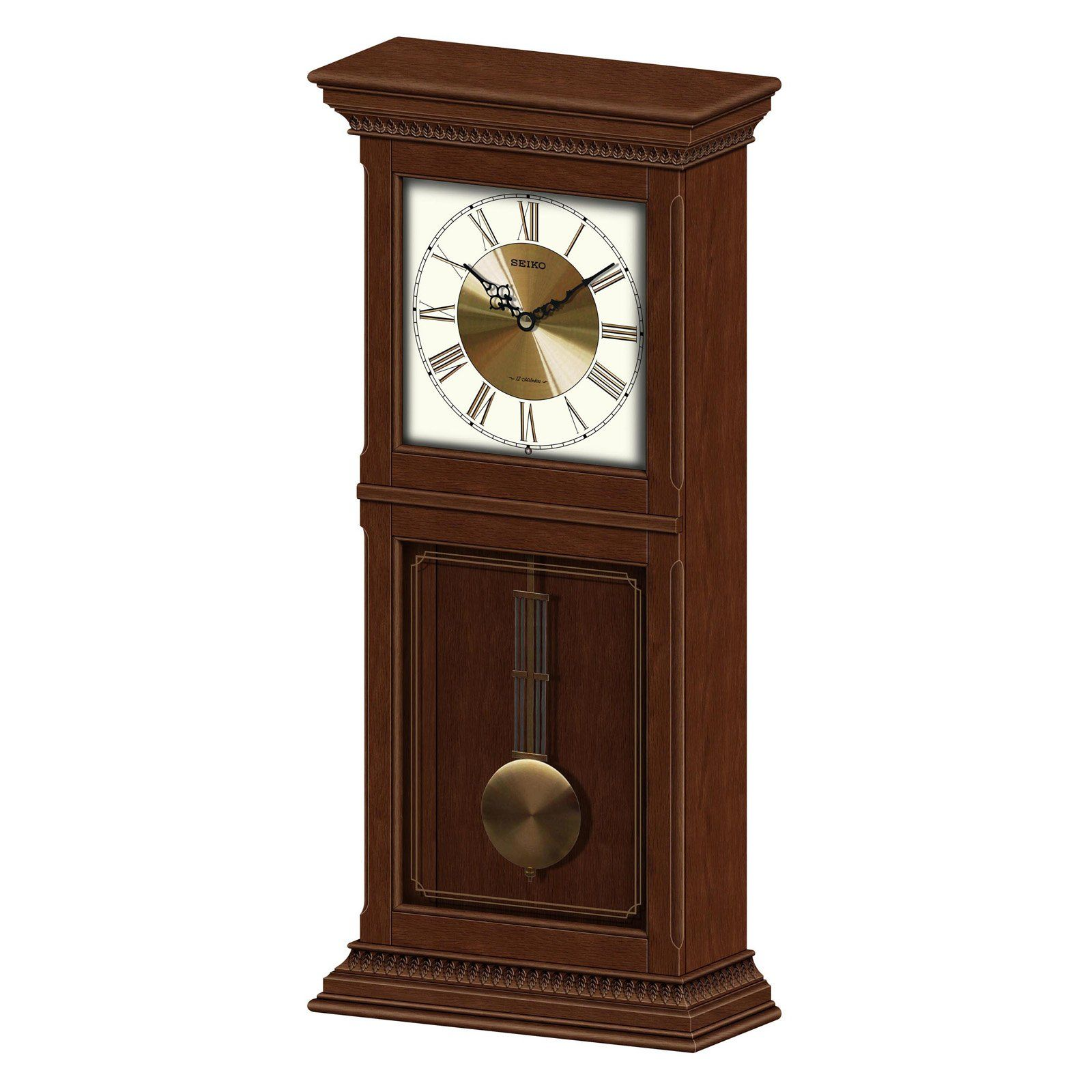 Seiko Cambridge Mantel Pendulum Clock Dark Brown Wooden Case Pendulum Clock Clock