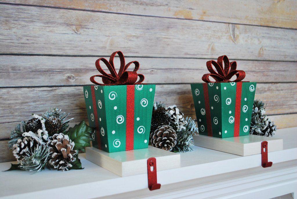 Gift Box Stocking Hanger -Red and Green Christmas Decor - christmas decor pinterest