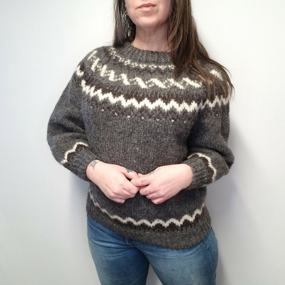 f9ee82286a vtg Hand Knit Heavy Wool Nordic Style Fair Isle Sweater Gray Brown Ivory  Women M  Handmade  PulloverSweater