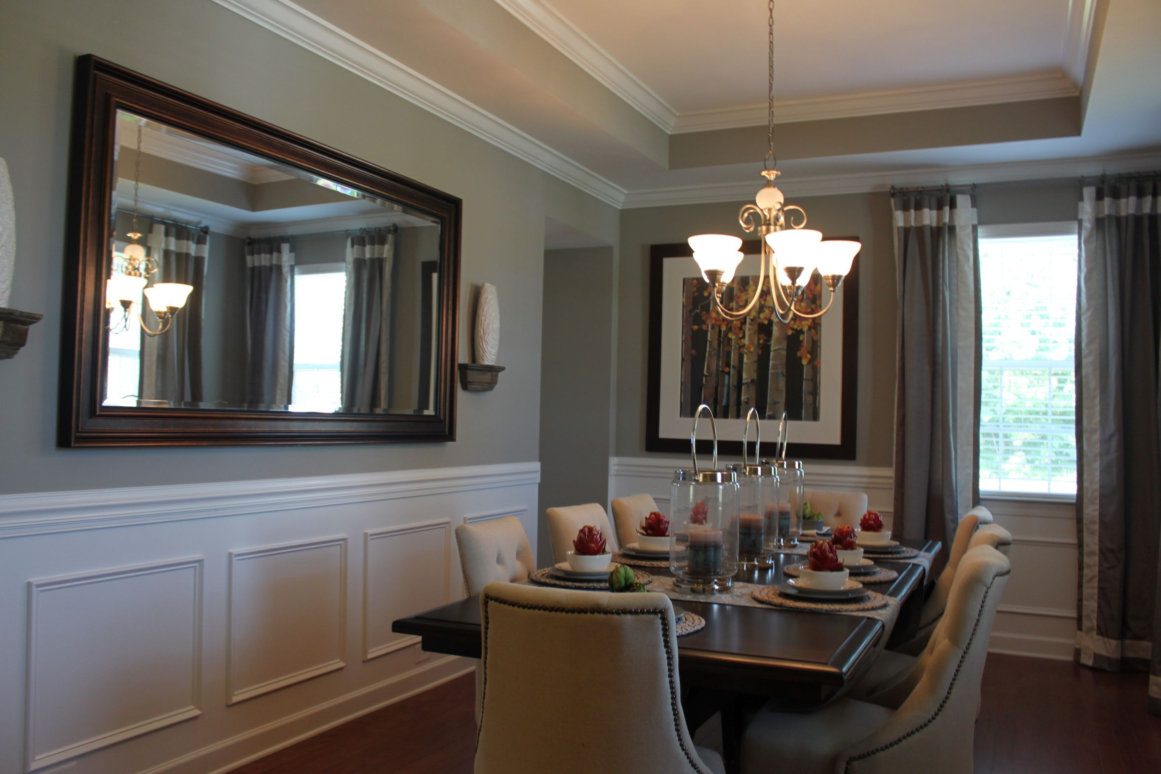 Fabulous Formal Dining Room with beautiful tray ceiling and crown ...