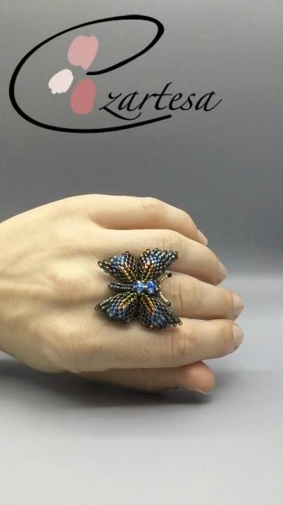 Gorgeous Beaded Butterfly #patterndesign #beadingtutorial  created from tiny glass seed beads and Swarovski crystal pearls, rose montees.