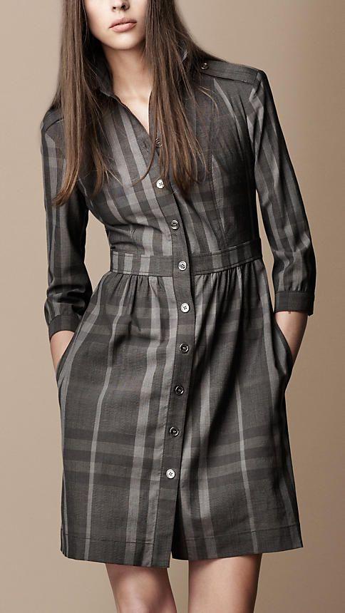8a0ae480320 Burberry Check Shirt Dress