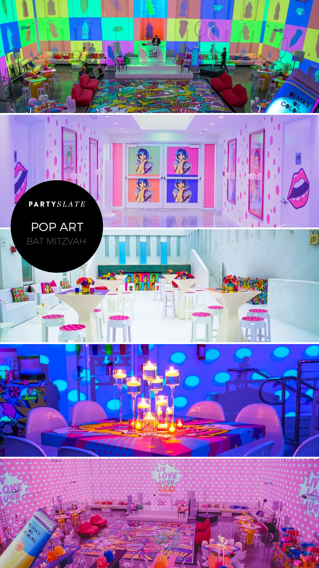 This Dazzling Pop Art Themed Bat Mitzvah Displayed Colorful Graphics On The Walls Tables