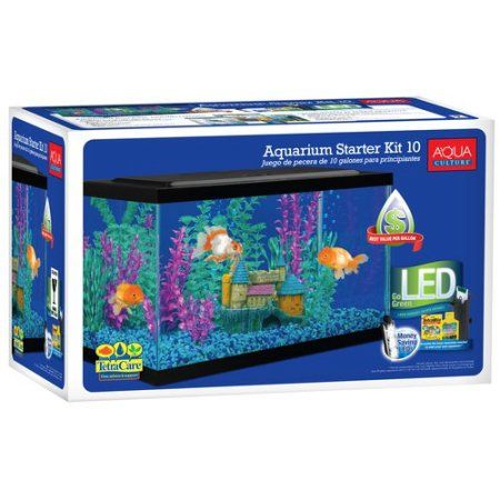 Aqua Culture 10 Gallon Aquarium Starter Kit With Led Lighting Walmart Com Glass Fish Tanks Aquarium Kit 10 Gallon Fish Tank