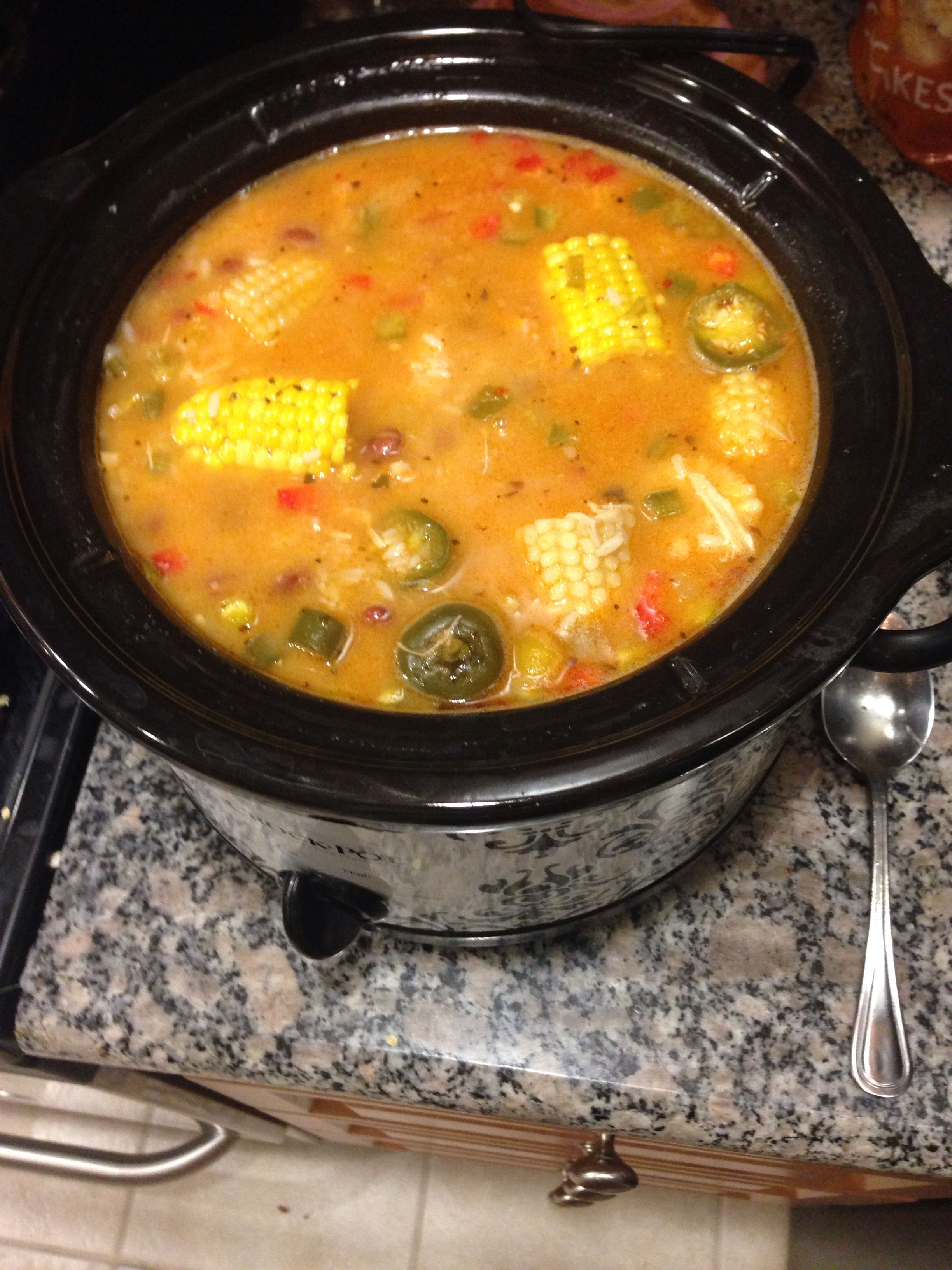 Sancocho  2 cups chicken broth, 2 cups chicken, 2 cups diced red and green peppers, 2 cups of rice, 2 cans of red beans, 2 corn cobs, 2 jalapeño peppers, 1 tbsp olive oil, 1 1/2 tsp. red pepper, 1tsp salt and pepper. Prepare chicken, rice, pepper, and beans. Then put all ingredients in a crock pot or pot and cook on low for at least an hour! So tasty!!