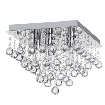 Litecraft orlando 5 light bathroom square flush ceiling light chrome debenhams