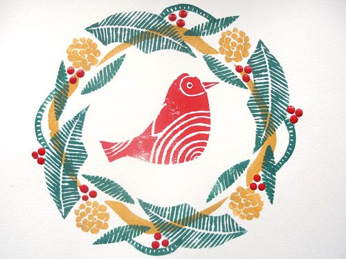 how to make your own Christmas cards- foam printing. cutting out ...