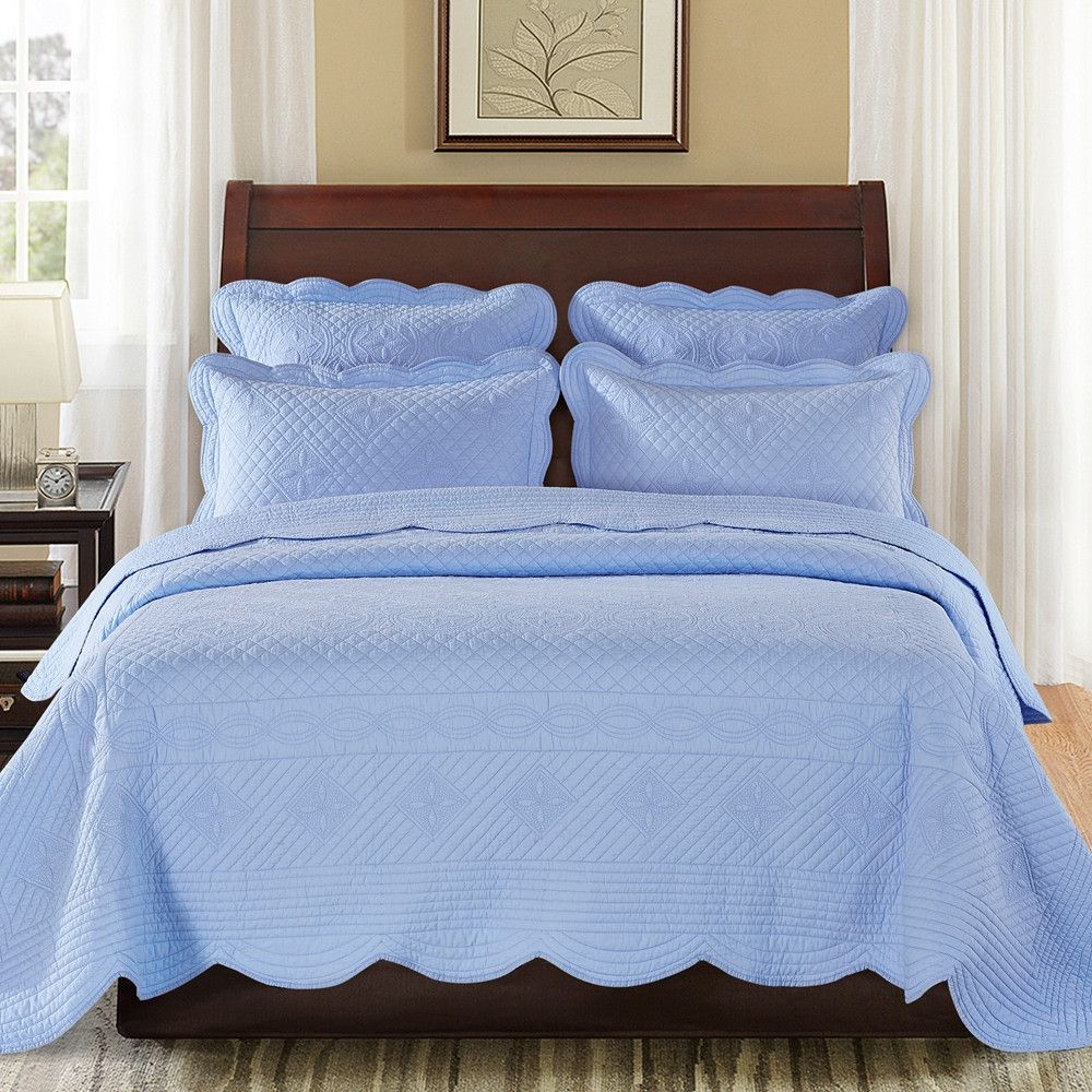 Sage Garden Luxury Pure Cotton Light Blue Quilt from Calla Angel ... : light quilts and coverlets - Adamdwight.com
