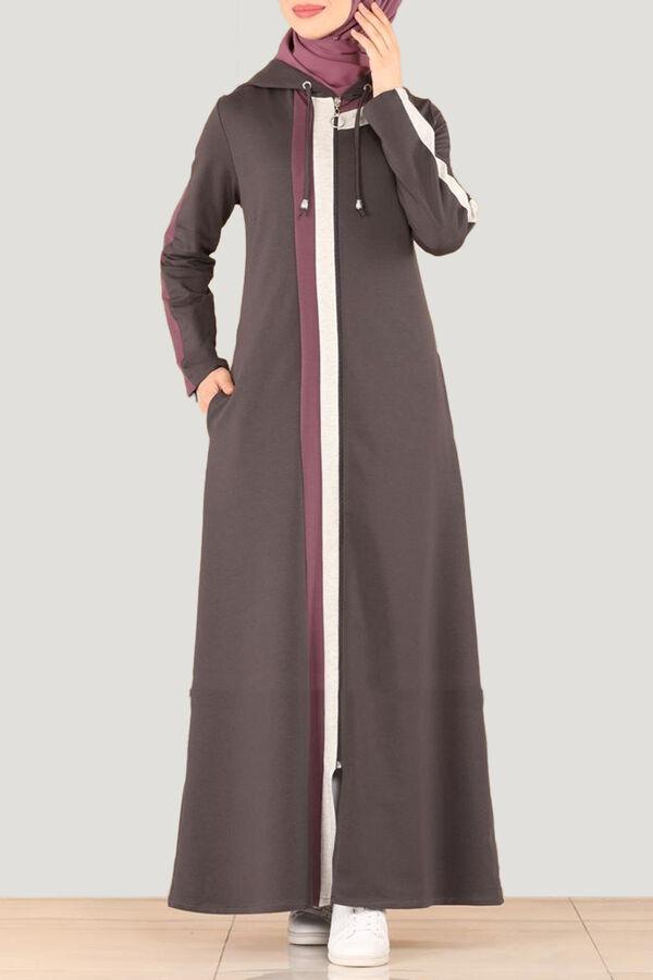 عباية رمادي قطن بوليستر Fashion Coat Hijabi