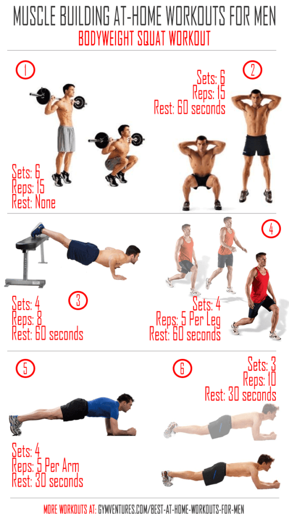 At Home Workouts For Men Bodyweight Squat Workout Home Workout Men Squat Workout At Home Workouts
