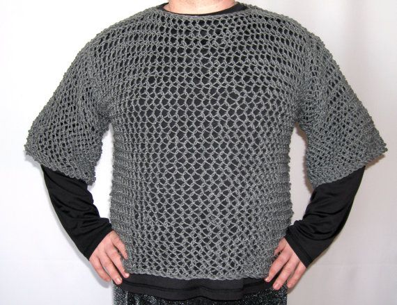 This faux chain mail shirt with short sleeves is a comfortable, light-weight, affordable alternative to steel ring chain mail for your