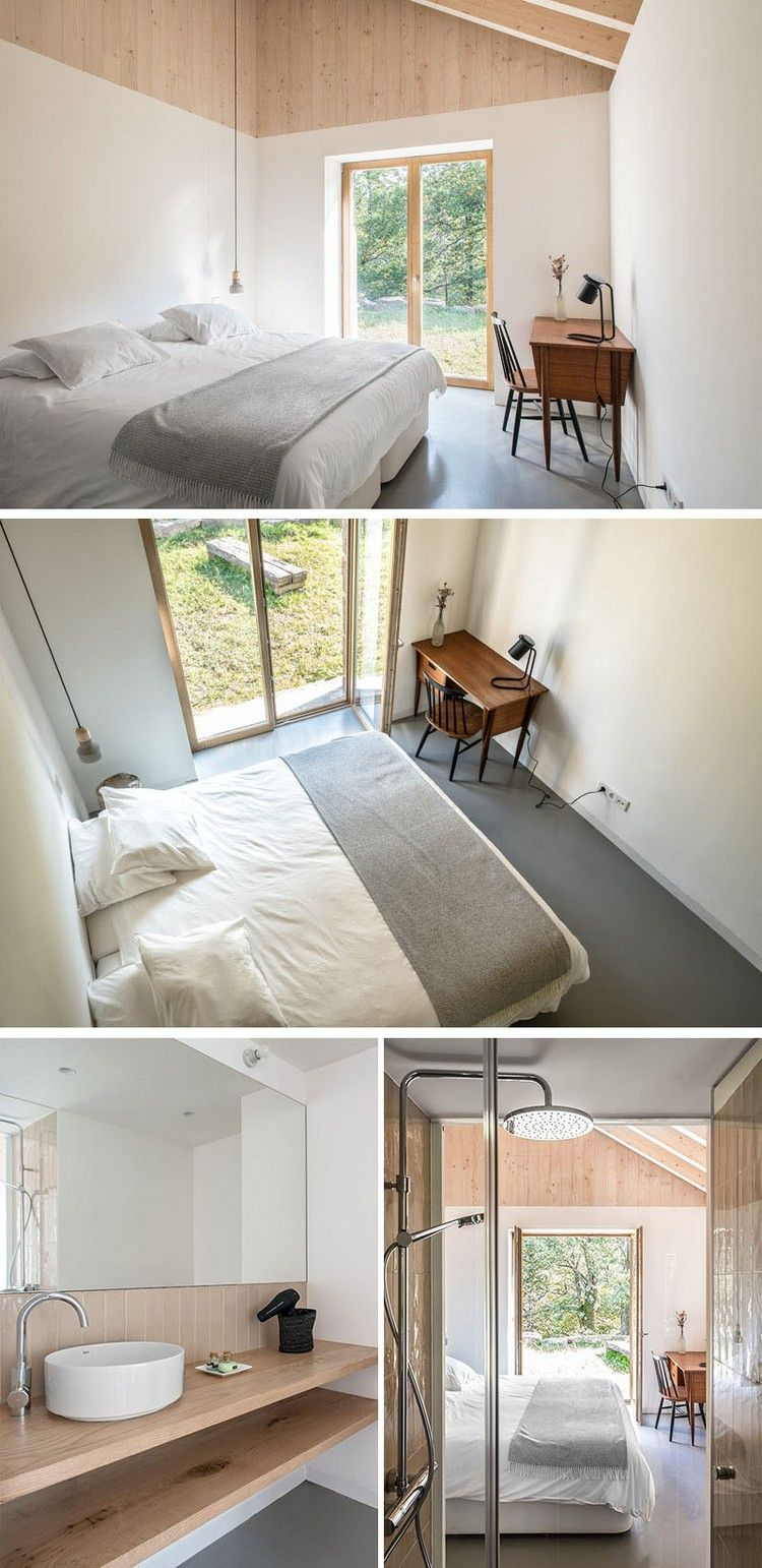 minimalistisches schlafzimmer design holzdecke bad en suite ...