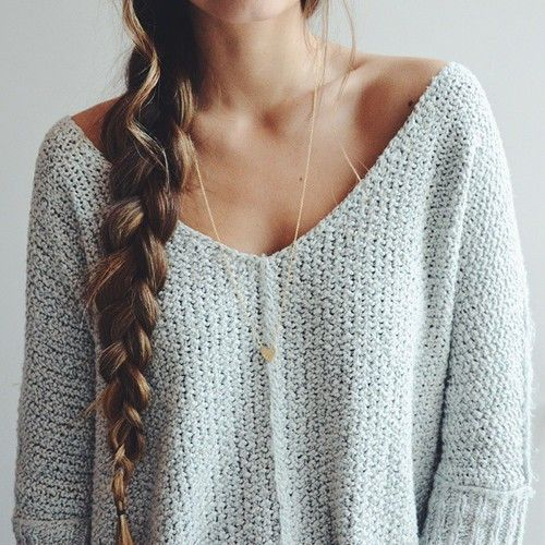 Grey fall sweater paired with a gold heart pendant + braid