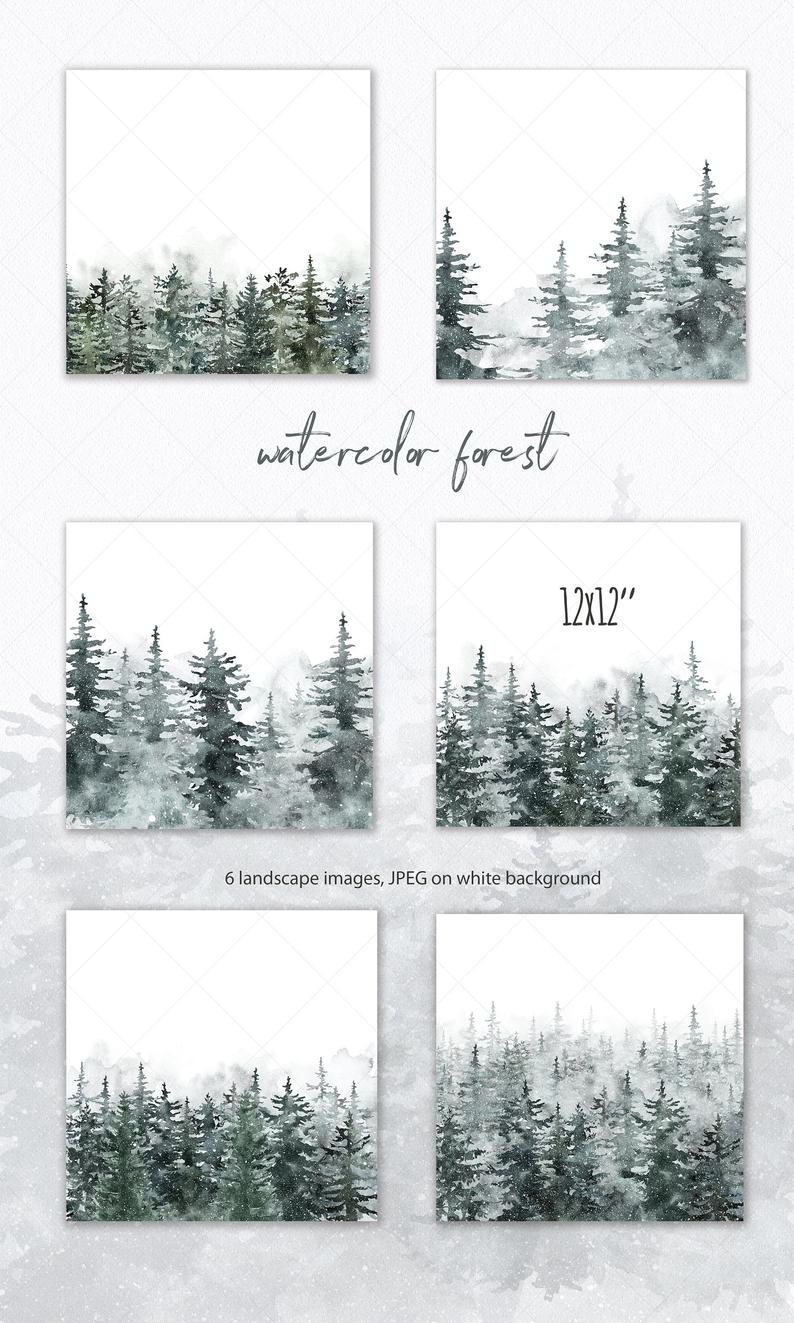 Spruce Watercolor Pine tree Forest Clipart Landscape Christmas PNG Winter Conifer Snowy Everg
