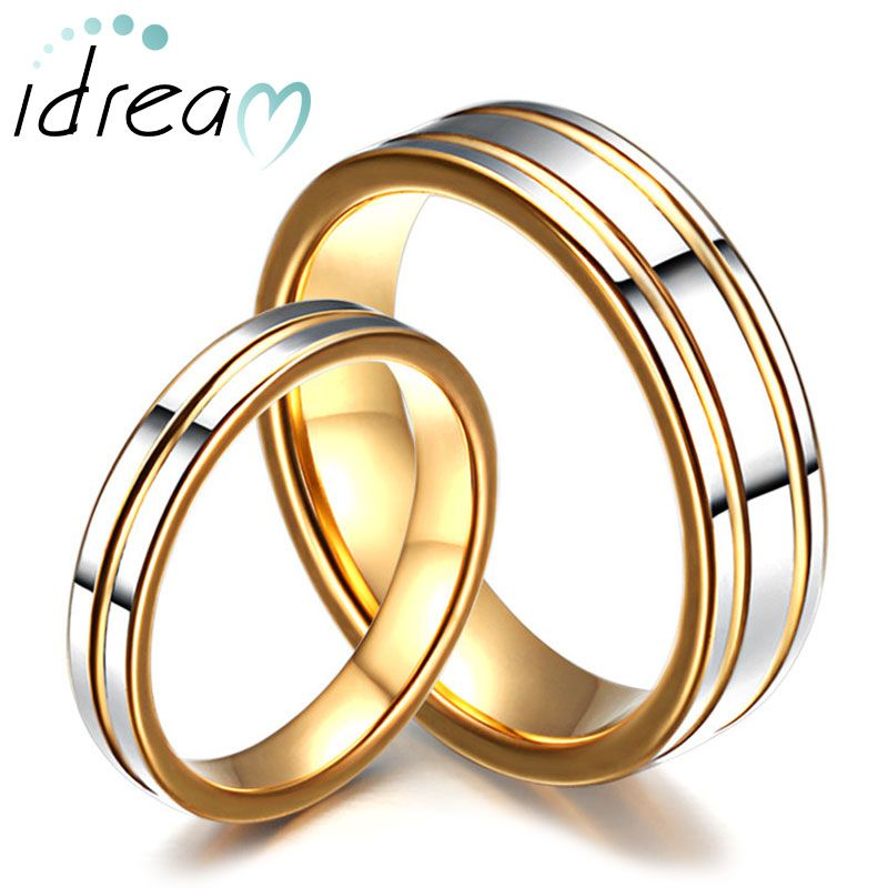 Two Tone Tungsten Wedding Bands Set For Women And Men Gold Tungsten Carbide W Tungsten Carbide Wedding Rings Tungsten Wedding Band Sets Tungsten Wedding Bands