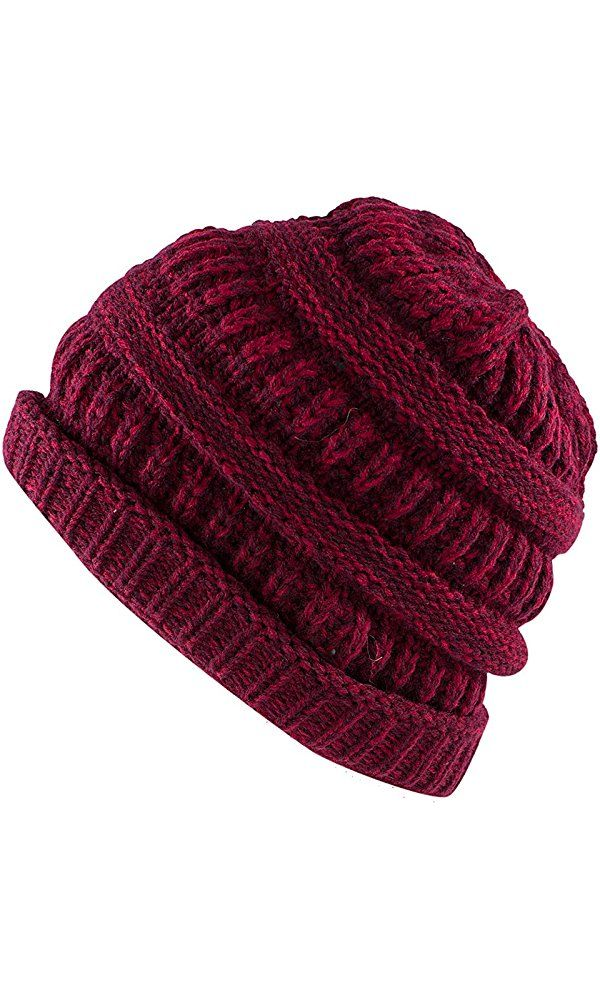 Knit Sew Outdoor Low Slouch Thermal Ski Beanie Headgear for Snowboard, Cycling, Sports, Cold Weather Protection by Super Z Outlet (Red/Burgundy) Best Price