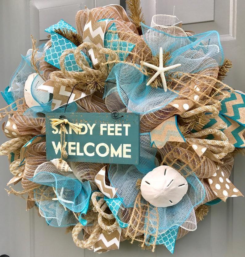 Photo of Beach Burlap Wreath Tutorial – Digital Video, How To Video, Sandy Feet Welcome Wreath