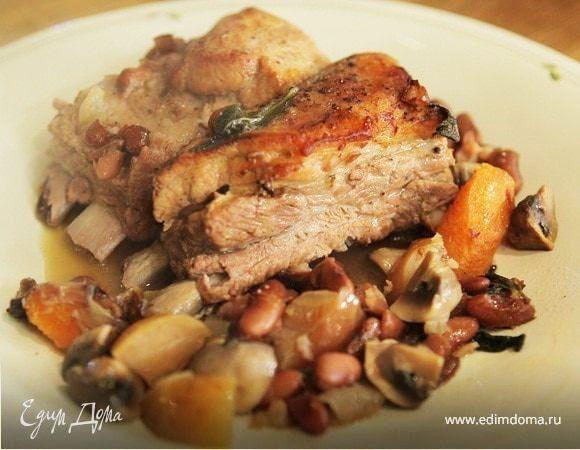 Свиные ребрышки с грибами и красной фасолью | Рецепт | Еда ...